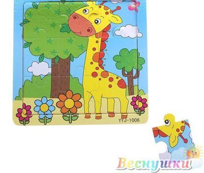Деревянный малый пазл Жираф