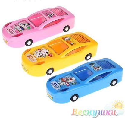 Пенал школьный пластиковый, Машинка на колесах