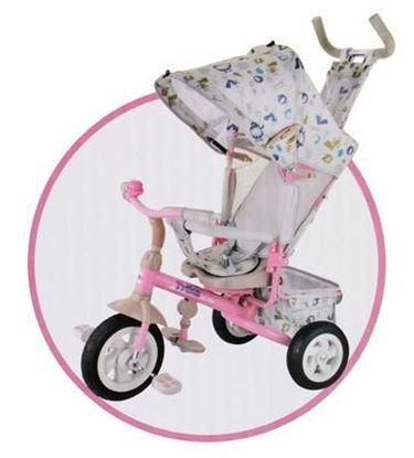 Велосипед трехколесный Trike с розовой металлической рамой, родительской ручкой и надувными колесами