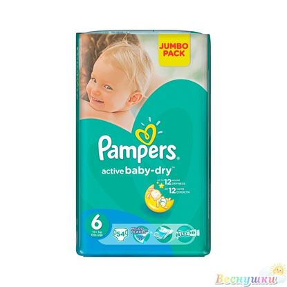 Pampers Active Baby Jumbo Pack 6 (Extra Large), 54 шт